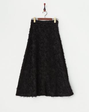 ブラック  カットジャガードAラインロングスカート見る