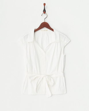 オフホワイト  共布ベルト付きVネックフレンチシャツ見る
