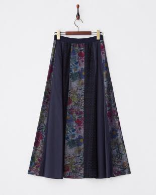 I.BLUE  フラワーダンガリーロングスカート見る
