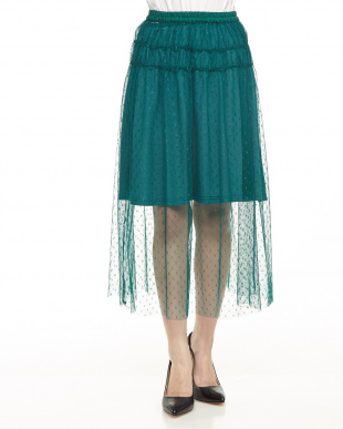 グリーン  ドット刺繍チュールスカート見る