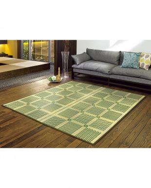 G 高山 い草と炭の交織カーペット 348×352cm見る