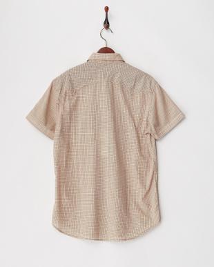 ベージュ系 R刺繍 半袖チェックシャツ見る