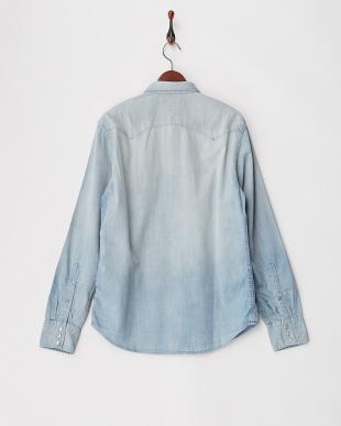 ブルー R刺繍 デニムシャツ見る