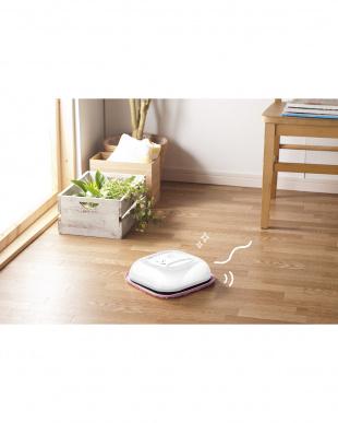 ホワイト  自動床拭きロボット「もこもこモップん」見る