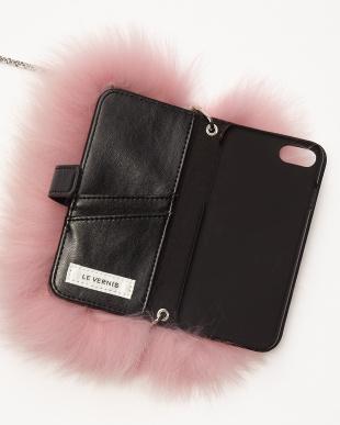 PINK ファーフラップ  iPhone7ケース見る