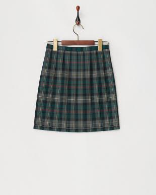 緑 チェックプリーツスカート見る