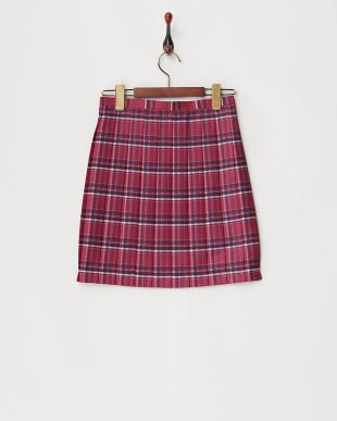 ピンク Check柄プリーツスカート見る