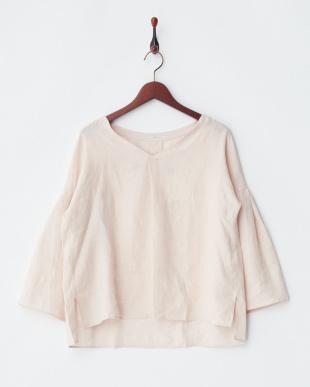 ピンク  リネン8分袖シャツ見る