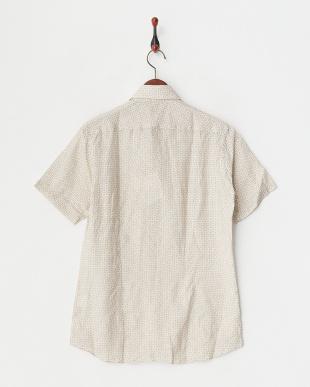 ベージュ リネン半袖プリントシャツ|MEN見る