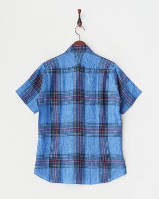 ブルー リネンデラベ半袖チェックシャツ見る