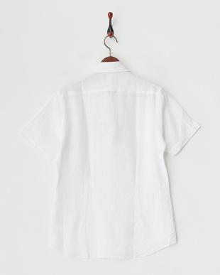 ホワイト  リネンデラベ半袖シャツ見る