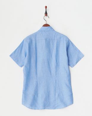 サックス  リネンデラベ半袖シャツ見る