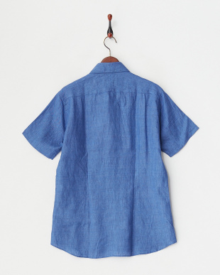 ブルー  リネンデラベ半袖シャツ見る