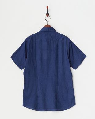 ディープブルー  リネンデラベ半袖シャツ見る
