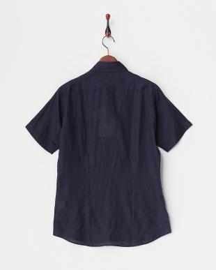 ネイビー  リネンデラベ半袖シャツ見る