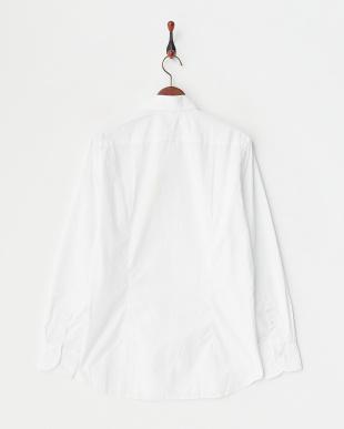 ホワイト小花  ホワイトドビープリントシャツ見る