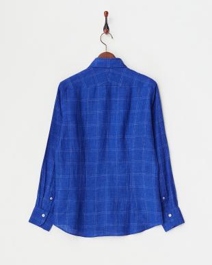 ブルー リネンチェックシャツ見る
