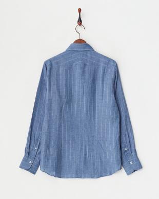ブルーグレー リネンストライプシャツ|MEN見る