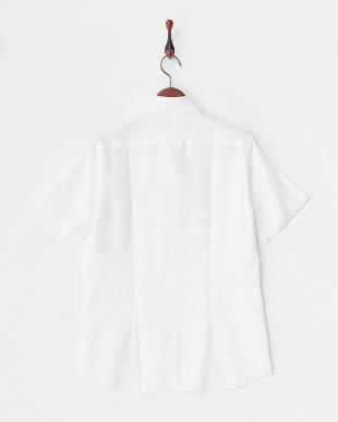 ホワイト  リネンアロエフィニッシュ半袖シャツ見る