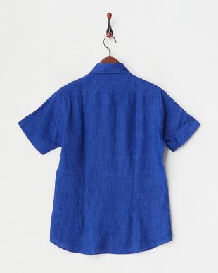ブルー  リネンアロエフィニッシュ半袖シャツ見る