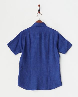 ディープブルー  リネンアロエフィニッシュ半袖シャツ見る