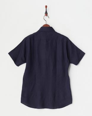 ネイビー  リネンアロエフィニッシュ半袖シャツ見る
