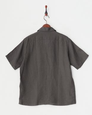 ブラウン リネンアロエフィニッシュ半袖開衿シャツ見る