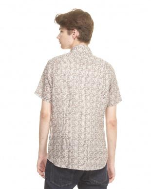 ライトブラウン リネンプリント半袖シャツ|MEN見る