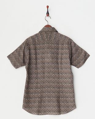 ブラウン リネンプリント半袖シャツ|MEN見る