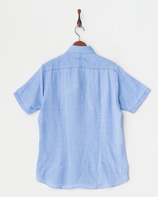 ブルー ブルー リネンピグメントプリント半袖シャツ|MEN見る