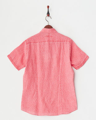 ピンク リネンピグメント花柄プリント半袖シャツ|MEN見る