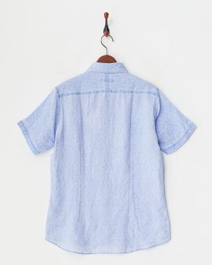 ブルー  リネンピグメント花柄プリント半袖シャツ見る