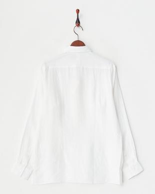 ホワイト リネンプルオーバーシャツ見る