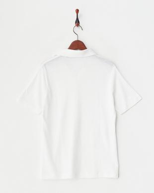 ホワイト  リネンコットンスキッパーポロシャツ見る