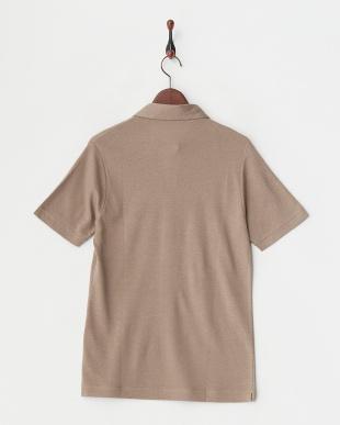 ベージュ  リネンコットンスキッパーポロシャツ見る