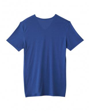 ブルー  VネックTシャツ・クールマジック 天竺見る