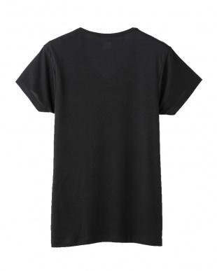 ブラック  VネックTシャツ・マイクロモダールエアー見る