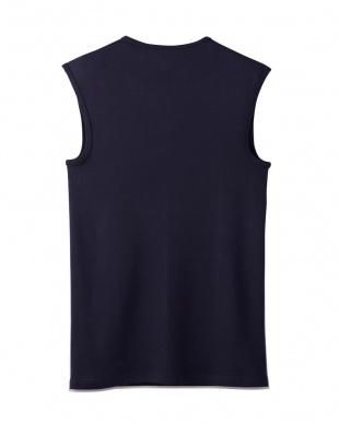 ディープブルー  Vネックスリーブレスシャツ・吸汗速乾/冷感/抗菌防臭見る