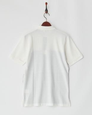 ホワイト 前身ニットポロシャツ見る