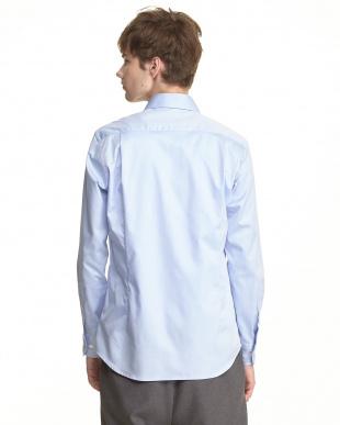 ライトブルー  コットンツイルワイドカラーシャツ見る