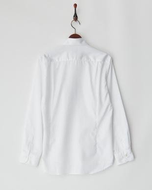 ホワイト  コットンツイルワイドカラーシャツ見る