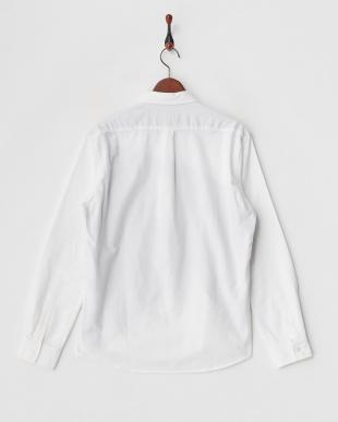 ホワイト パッチワーク切り替え起毛シャツ見る