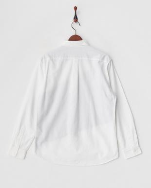 ホワイト  斜め切り替えオックスシャツ見る