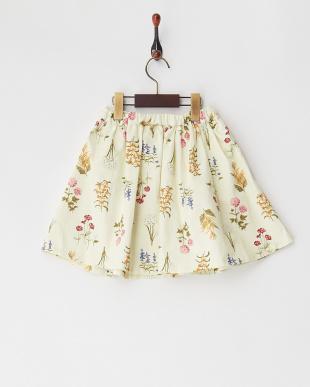 アイボリー フラワー柄フレアースカート見る