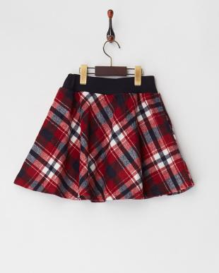 レッド シャギーチェックインナーパンツスカート見る