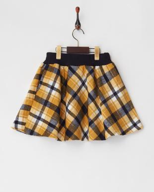 イエロー シャギーチェックインナーパンツスカート見る
