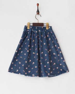ブルー 花柄プリントベロアスカート見る