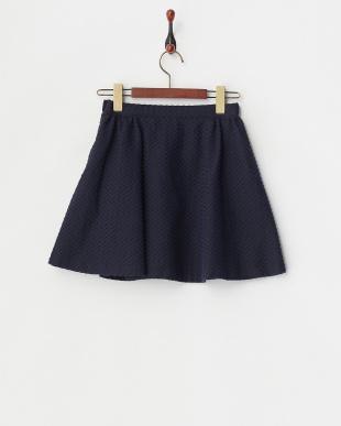 ネイビー スクエアジャガードリボンスカート見る