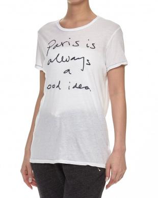 WHITE  メッセージプリントTシャツ見る