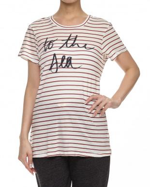 WHITE/BURGUNDY ロゴプリントボーダー柄Tシャツ見る